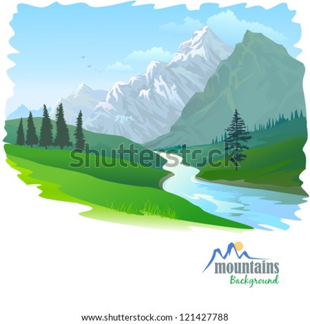 snow mountain and river