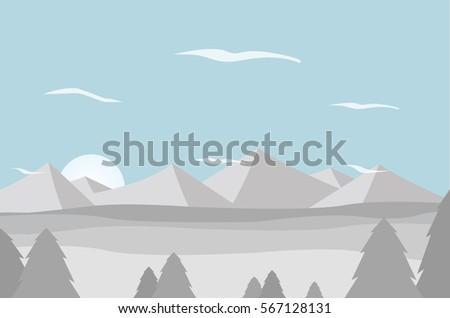 snow mountain landscape flat