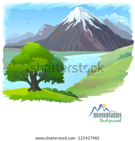 Snow Mountain , River and Lonely Tree