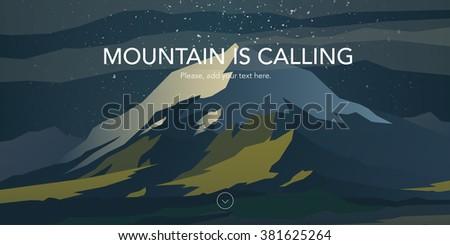 snow peak and green hills