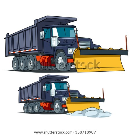 Snow Plow Truck. Vector illustration tipper truck with plow isolated on white background.