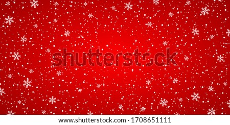 Snow red background. Christmas snowy winter design. White falling snowflakes, abstract landscape. Cold weather effect. Magic nature fantasy snowfall texture decoration. Vector illustration