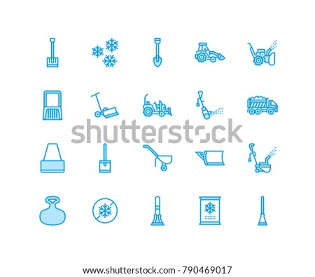 Snow removal flat line icons. Ice relocation service signs. Cold weather equipment - mini tractor, truck, front loader, shovel. Vector illustration, industrial cleaning symbols. Pixel perfect 64x64.