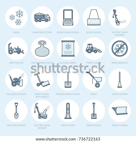 snow removal flat line icons