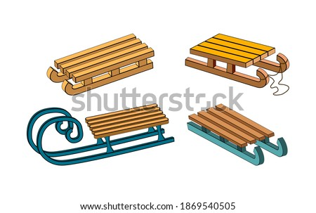 Snow sledge set. Wooden sleigh for children collection. Winter vector sled. Seasonal cartoon icon, symbol design. Classic child old wood transport vehicle illustration isolated on white background. Stock photo ©