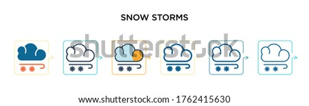 snow storms vector icon in 6