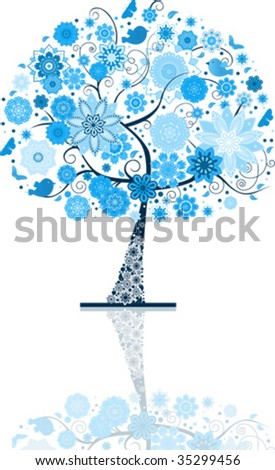 Snow tree. All elements are individual objects. Vector illustration scale to any size.