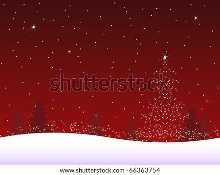 Snow tree - red background