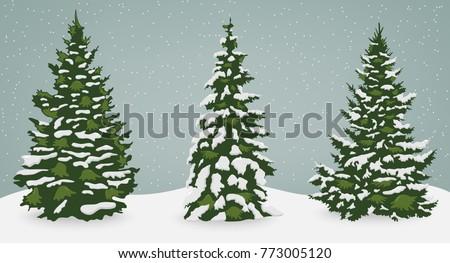 snow trees set on isolated