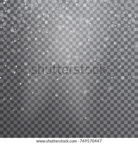Snow. Vector transparent realistic snow background. Christmas and New Year decoration. Snow blizzard snowstorm background.