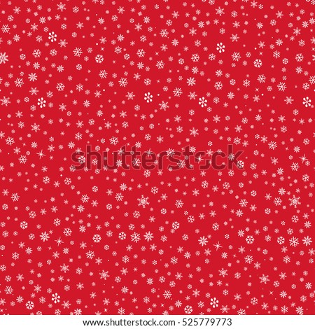 Snow winter holiday background. Snowflakes texture. Snow falling on red background. Gentle seamless pattern. Christmas snowfall icon ornament.