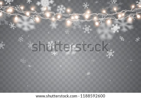 Snow with glowing Christmas lights isolated on transparent background. White snow flakes falling and Xmas garlands strings. Vector snowfall, snowflakes flying in winter air.