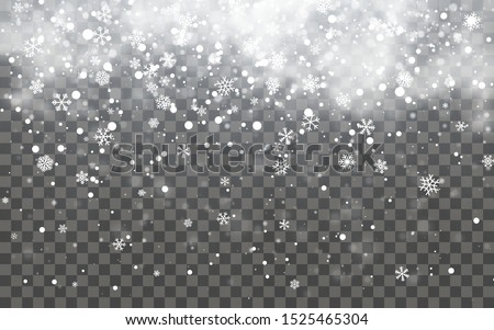 Snow with snowflakes and clouds on transparent background. Falling snow effect. Christmas snow. Snowfall. Vector illustration.