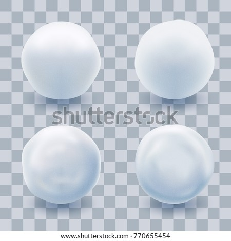 Snowball Set Isolated with Transparent Shadow. Winter Symbol. Christmas Time Design Element. Vector Illustration.