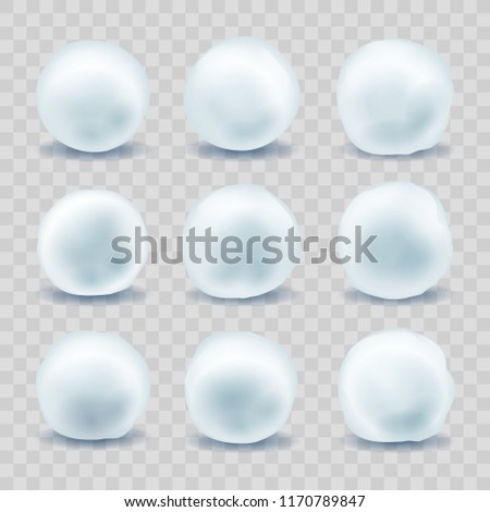 Snowballs. Snow boules for christmas winter fight, february holiday snowball set isolated on transparent background, vector illustration