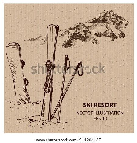 Snowboard and Ski in the Ski Mountain Resort. Hand drawn vector illustration
