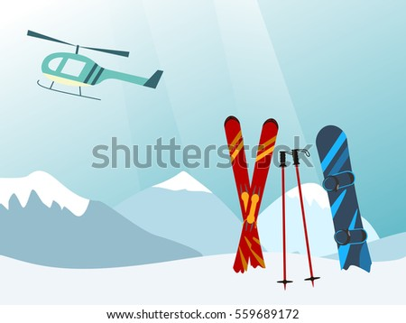 Snowboard and Ski in the Ski Mountain Resort, helicopter Vector illustration