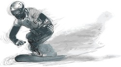SNOWBOARD. From the series SILENT HEROES - Athletes with physical disabilities. An hand drawn vector. Note - Any accurate photo original for this picture, original is created by me.