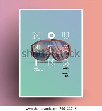 Snowboard goggles with mountains reflection poster flyer. Modern minimal styled vector illustration.