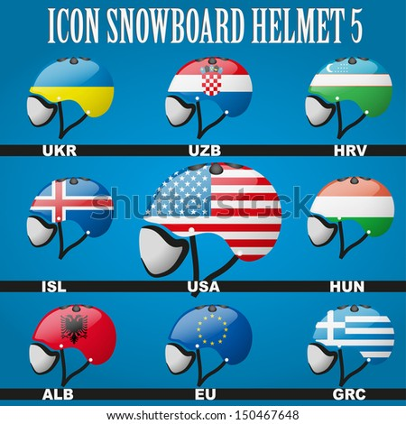 Snowboard helmets with the flags of countries members for winter games. Vector illustration, eps 10, contains transparencies.