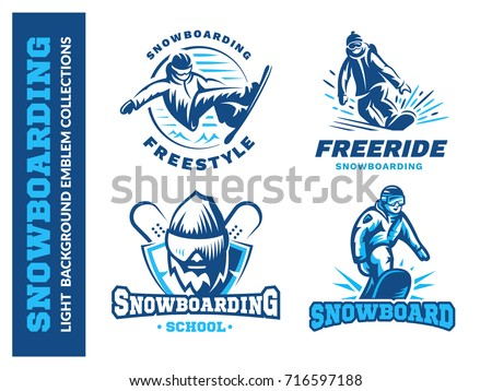snowboard logo set   vector