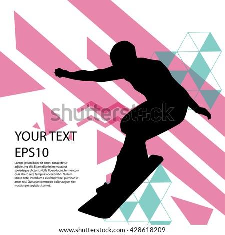 Snowboard man silhouette modern design background