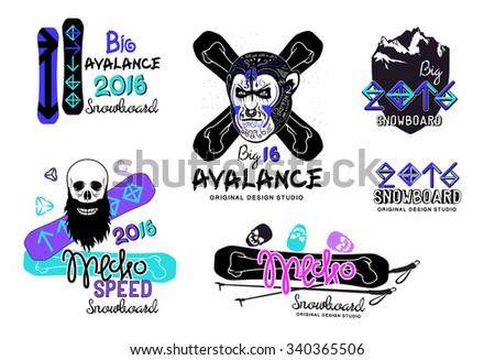 snowboard modern logo extreme