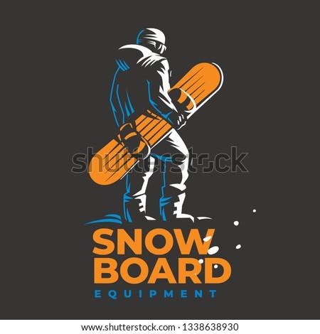 snowboard vector emblem