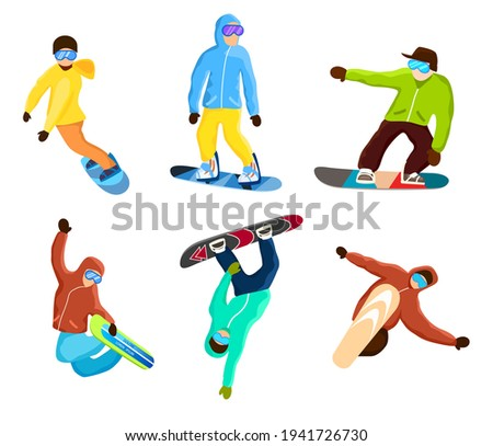 Snowboarder agility and skill set isolated on white