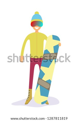 d9416bc82a9 snowboarder holding a star yellow snowboard flat vector illustration
