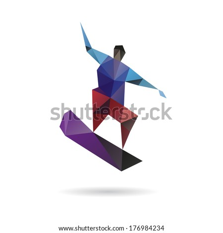 Snowboarder jumping abstract isolated on a white backgrounds