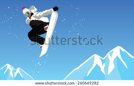 snowboarder jumping against