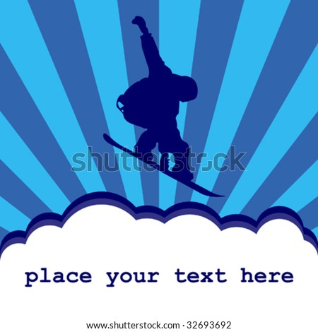 Snowboarder silhouette above clouds - with space for your text
