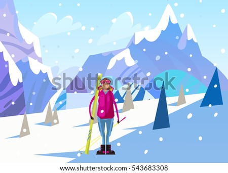 Snowboarder. Winter landscape Vector illustrate