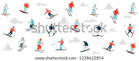 snowboarders and skiers skiing