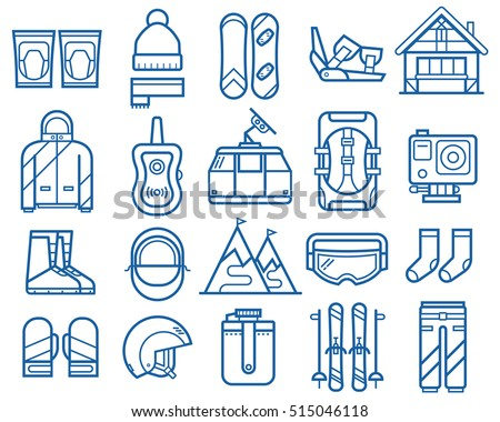 Snowboarding and skiing thin line icons. Winter sports and activity elements set. Mountain ski and snowboard equipment and gear vector icons. Winter active lifestyle collection. Snowboard travel set.