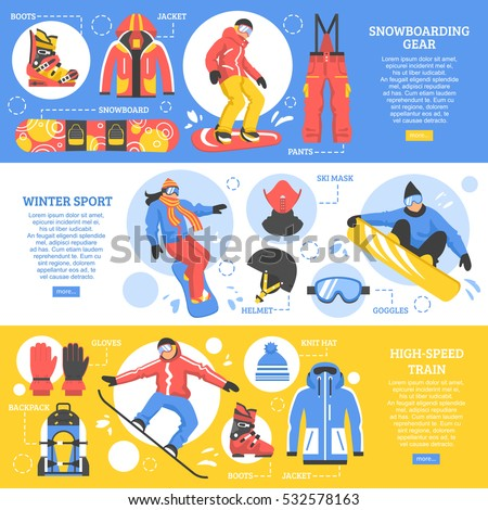 Snowboarding horizontal banners with advertising of gear and tools for extreme winter sports flat vector illustration