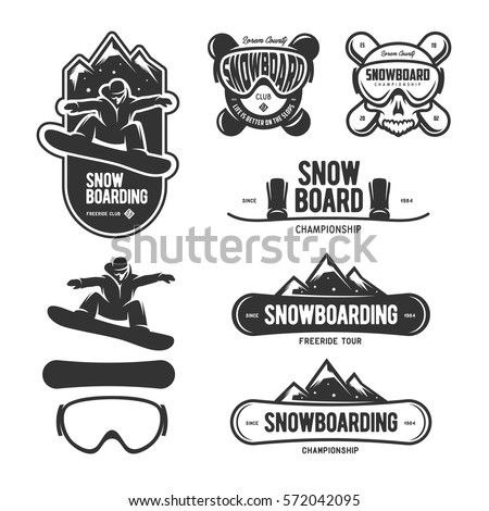 snowboarding labels set winter