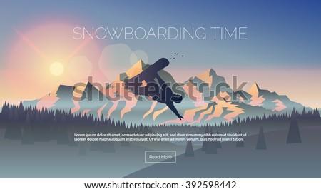 snowboarding themed web banner