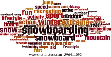 snowboarding word cloud concept
