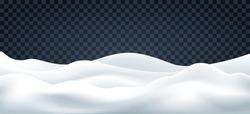 Snowdrifts on transparent. Snow landscape decor, beauty snowdrift wallpaper, frozen hills with snowbanks texture, empty snowbank fields panorama, vector illustration