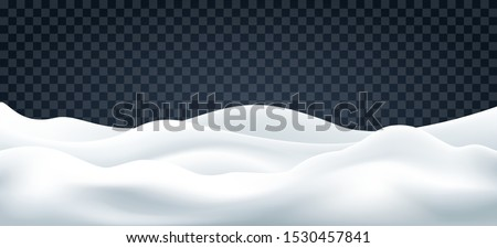 Snowdrifts on transparent. Snow landscape decor, beauty snowdrift wallpaper, frozen hills with snowbanks texture, empty snowbank fields panorama, vector illustration