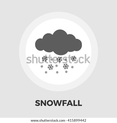 Snowfall icon vector. Flat icon isolated on the white background. Editable EPS file. Vector illustration.