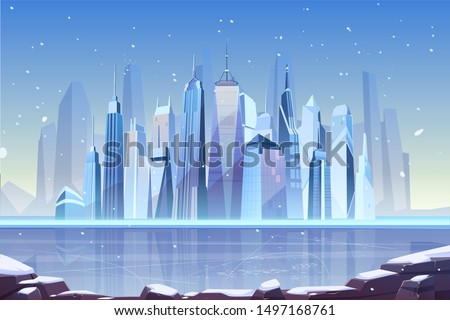 snowfall in modern city cartoon