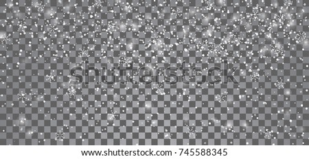 Snowfall on a transparent background. Falling snowflakes. Vector eps10.