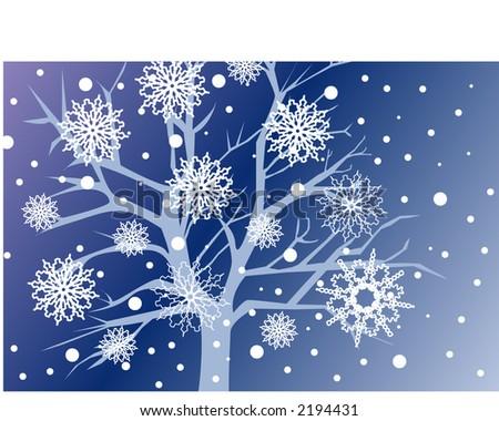 snowfall over bare tree at night