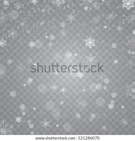Snowfall. Snowflakes on transparent background