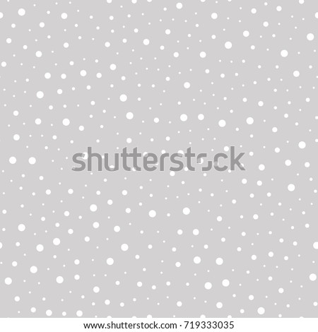 Snowfall vector seamless pattern on gray background