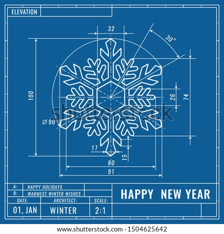 Snowflake as technical blueprint drawing. Christmas technical concept. Mechanical engineering drawings.