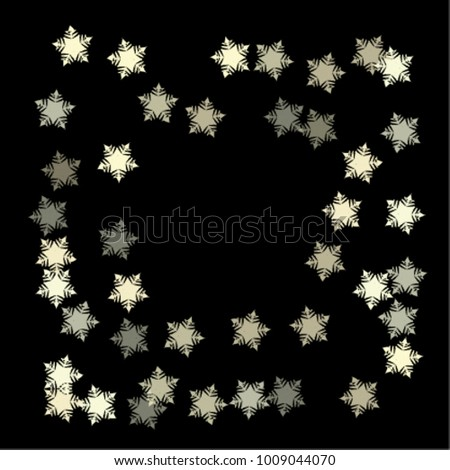 Snowflake blizzard consists of isolated elements, with black back. Stylish, consist of beautiful elements in snowflake blizzard. Can be used as print, wallpaper, cards, poster, logo, background